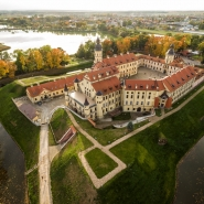 Castle in Nesvizh from the height of a drone. Taking pictures with quadrocopters in Minsk in Belarus. Aerial survey in Minsk. Fl